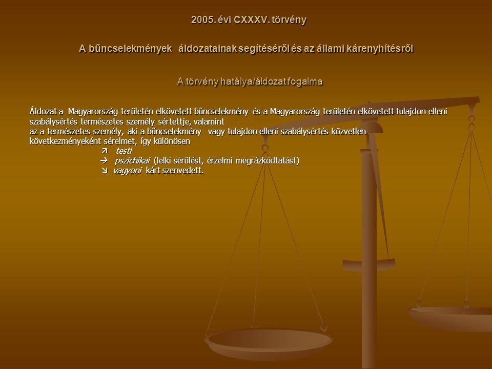 2005. évi CXXXV. törvény A bűncselekmények áldozatainak segítéséről és az állami kárenyhítésről A törvény hatálya/áldozat fogalma 2005. évi CXXXV. tör