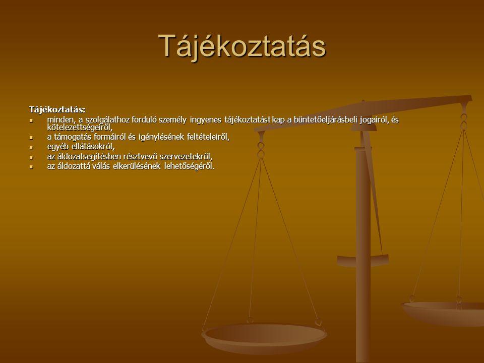 Tájékoztatás Tájékoztatás: minden, a szolgálathoz forduló személy ingyenes tájékoztatást kap a büntetőeljárásbeli jogairól, és kötelezettségeiről, min