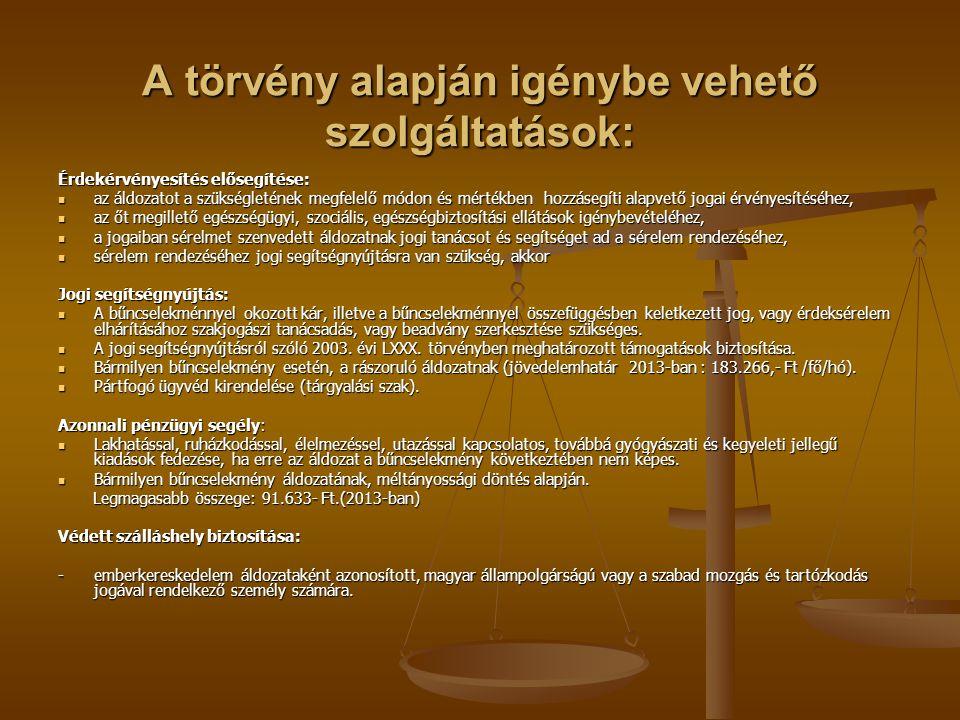 A törvény alapján igénybe vehető szolgáltatások: Érdekérvényesítés elősegítése: az áldozatot a szükségletének megfelelő módon és mértékben hozzásegíti