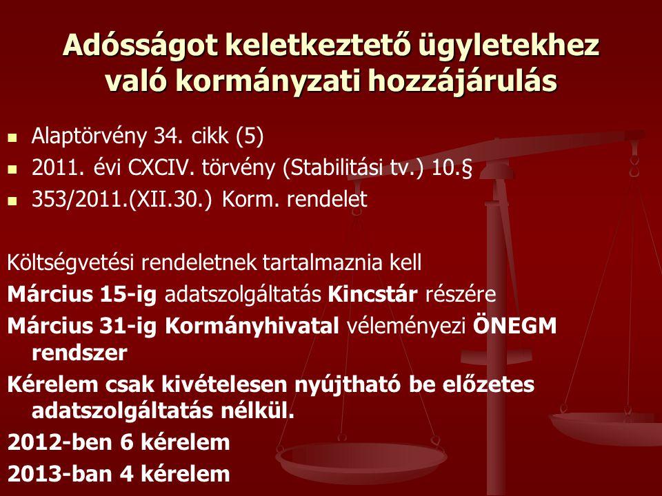 Alaptörvény 34. cikk (5) 2011. évi CXCIV. törvény (Stabilitási tv.) 10.§ 353/2011.(XII.30.) Korm. rendelet Költségvetési rendeletnek tartalmaznia kell