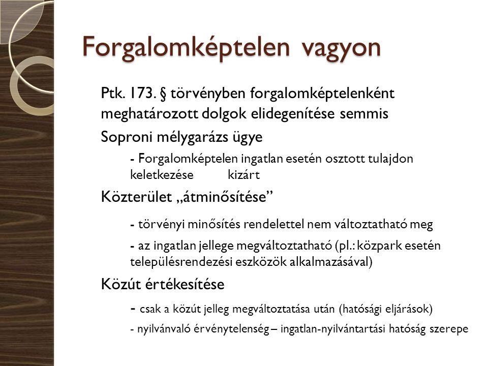 Forgalomképtelen vagyon Ptk. 173. § törvényben forgalomképtelenként meghatározott dolgok elidegenítése semmis Soproni mélygarázs ügye - Forgalomképtel