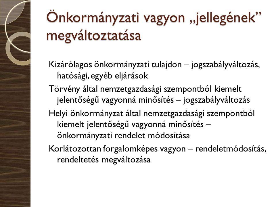 """Önkormányzati vagyon """"jellegének"""" megváltoztatása Kizárólagos önkormányzati tulajdon – jogszabályváltozás, hatósági, egyéb eljárások Törvény által nem"""