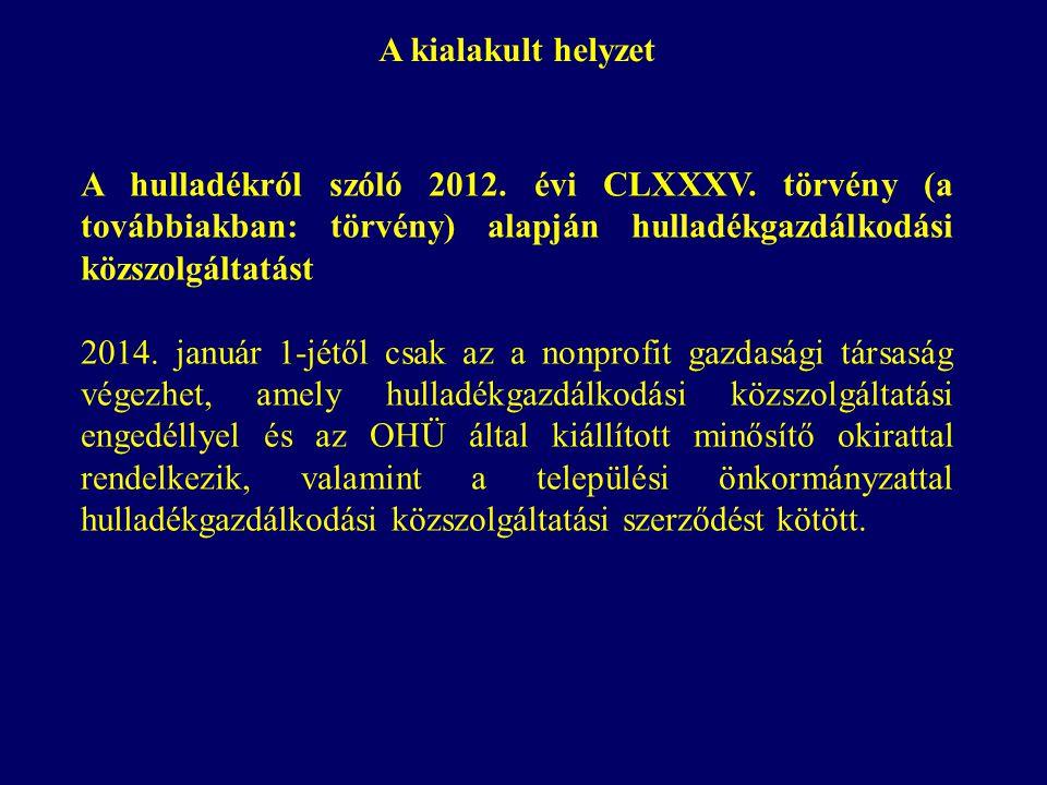 A kialakult helyzet A hulladékról szóló 2012. évi CLXXXV.