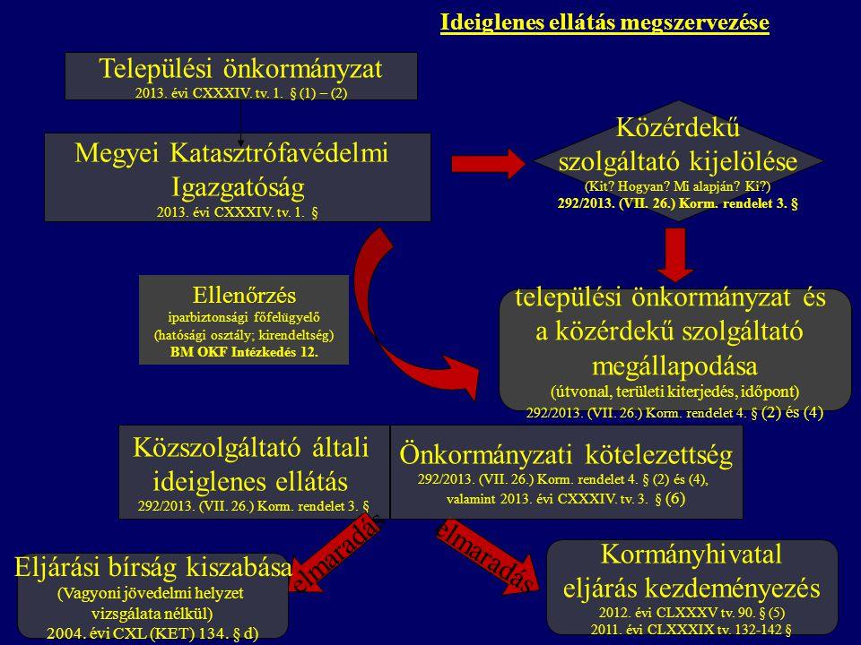 Ideiglenes ellátás megszervezése Települési önkormányzat 2013.