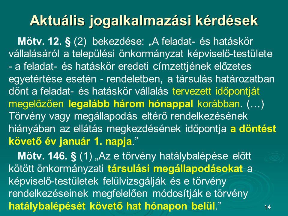 """14 Aktuális jogalkalmazási kérdések Mötv. 12. § (2) bekezdése: """"A feladat- és hatáskör vállalásáról a települési önkormányzat képviselő-testülete - a"""