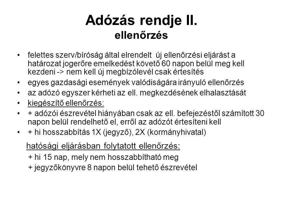 Adózás rendje II.