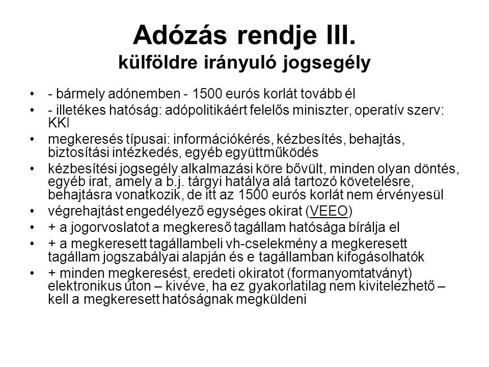 Adózás rendje III.