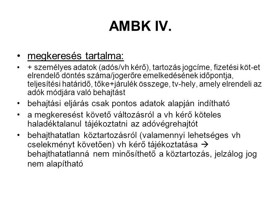 AMBK IV. megkeresés tartalma: + személyes adatok (adós/vh kérő), tartozás jogcíme, fizetési köt-et elrendelő döntés száma/jogerőre emelkedésének időpo