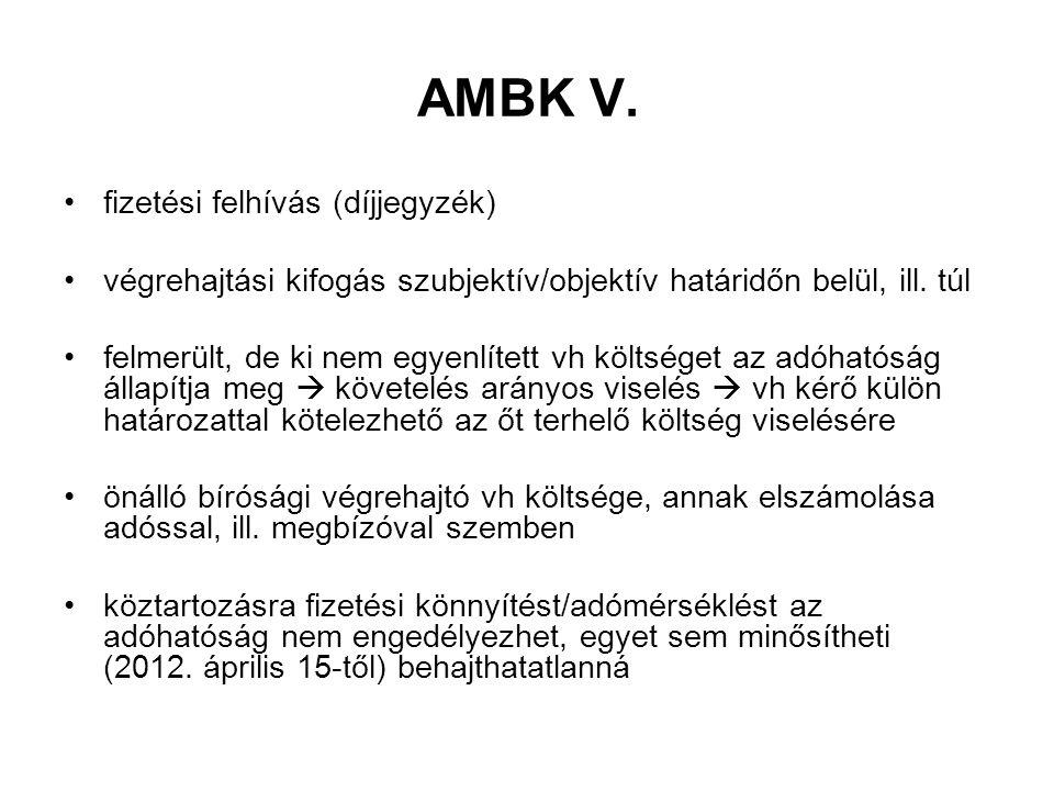 AMBK V. fizetési felhívás (díjjegyzék) végrehajtási kifogás szubjektív/objektív határidőn belül, ill. túl felmerült, de ki nem egyenlített vh költsége