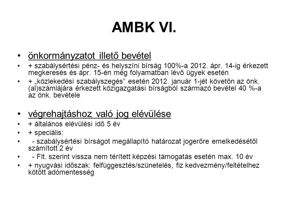 AMBK VI. önkormányzatot illető bevétel + szabálysértési pénz- és helyszíni bírság 100%-a 2012. ápr. 14-ig érkezett megkeresés és ápr. 15-én még folyam