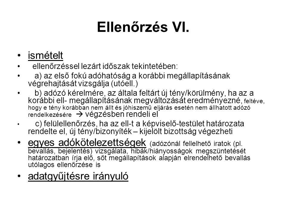 Ellenőrzés VI.