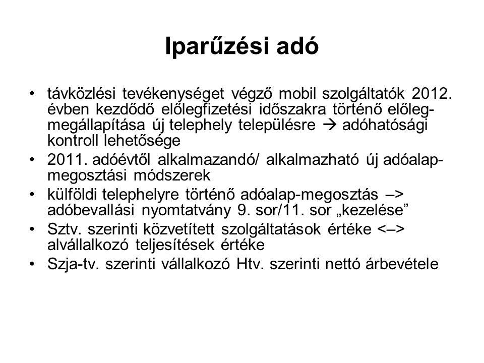 Iparűzési adó távközlési tevékenységet végző mobil szolgáltatók 2012.