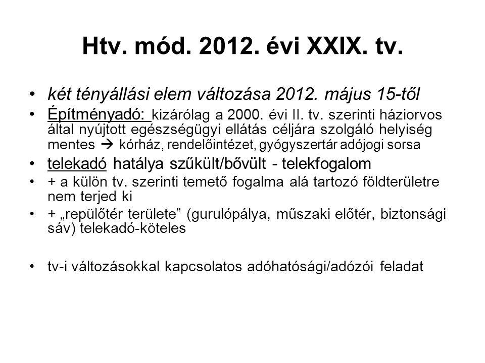 Htv. mód. 2012. évi XXIX. tv. két tényállási elem változása 2012. május 15-től Építményadó: kizárólag a 2000. évi II. tv. szerinti háziorvos által nyú