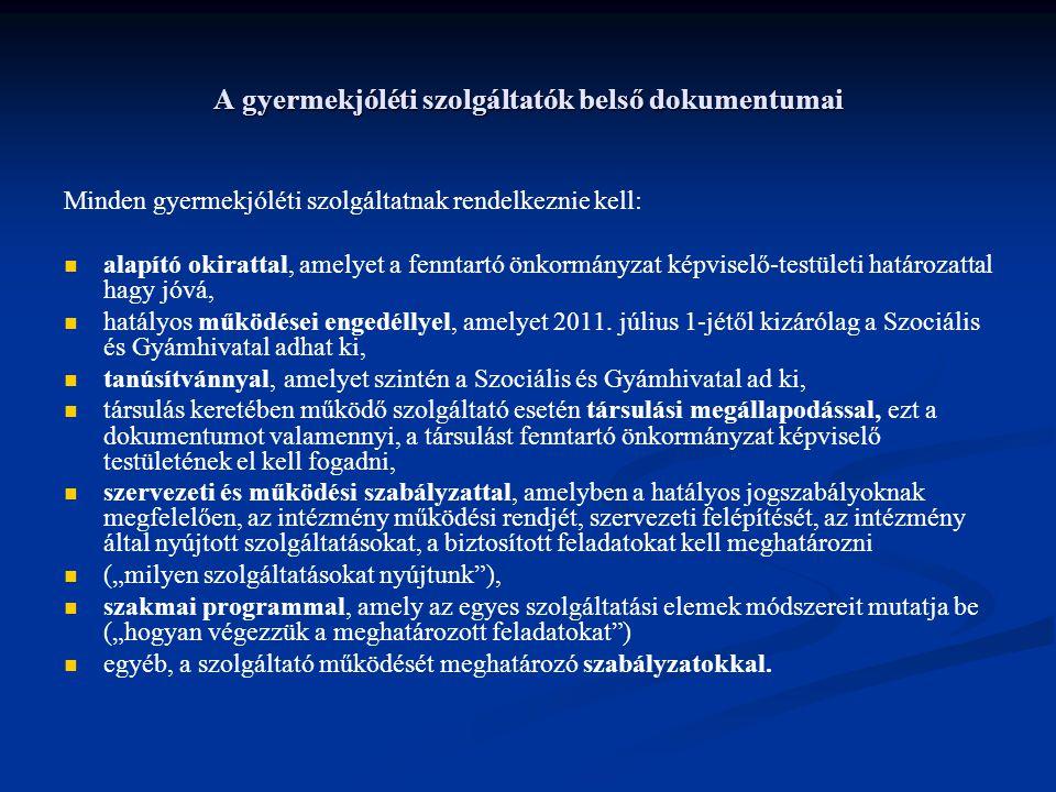 A gyermekjóléti szolgáltatók belső dokumentumai Minden gyermekjóléti szolgáltatnak rendelkeznie kell: alapító okirattal, amelyet a fenntartó önkormány