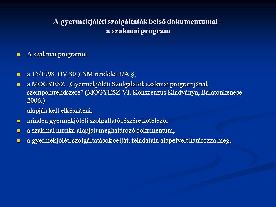 A gyermekjóléti szolgáltatók belső dokumentumai – a szakmai program A szakmai programot A szakmai programot a 15/1998. (IV.30.) NM rendelet 4/A §, a 1