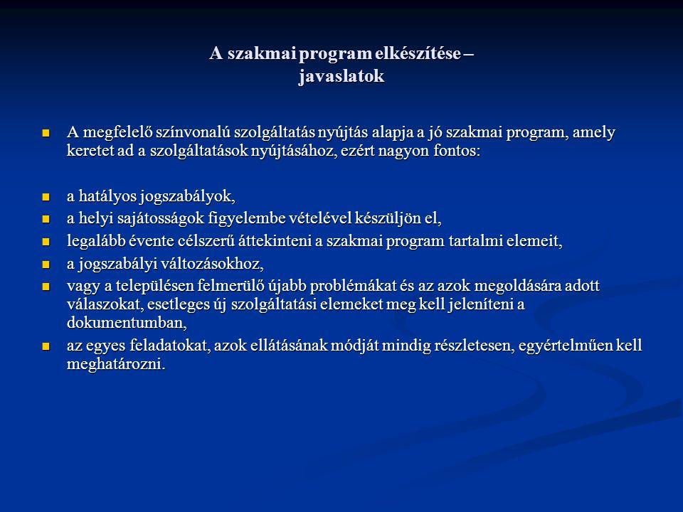 A szakmai program elkészítése – javaslatok A megfelelő színvonalú szolgáltatás nyújtás alapja a jó szakmai program, amely keretet ad a szolgáltatások