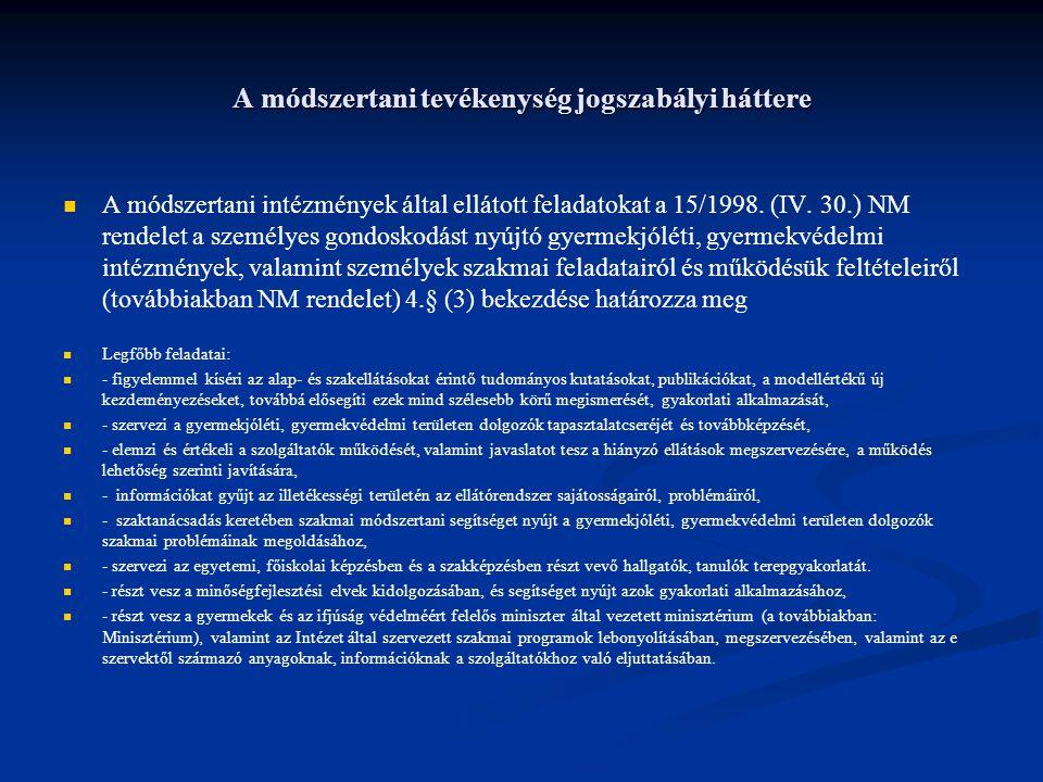 A módszertani tevékenység jogszabályi háttere A módszertani intézmények által ellátott feladatokat a 15/1998. (IV. 30.) NM rendelet a személyes gondos