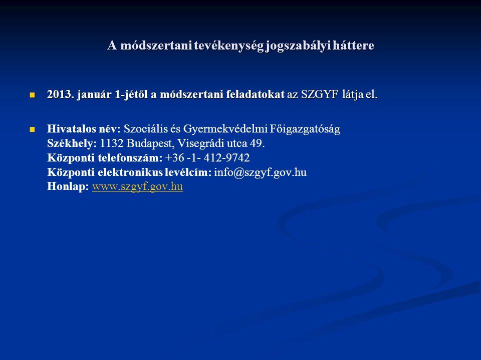 A módszertani tevékenység jogszabályi háttere 2013. január 1-jétől a módszertani feladatokat az SZGYF látja el. 2013. január 1-jétől a módszertani fel