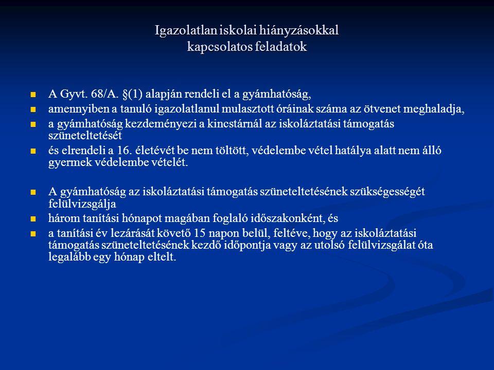 Igazolatlan iskolai hiányzásokkal kapcsolatos feladatok A Gyvt. 68/A. §(1) alapján rendeli el a gyámhatóság, amennyiben a tanuló igazolatlanul mulaszt