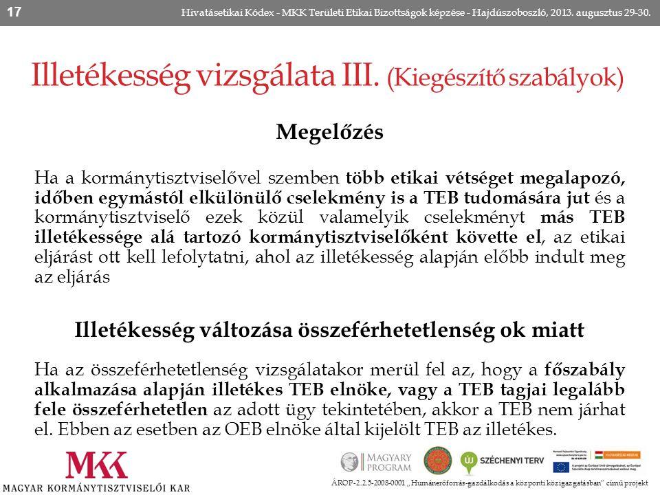 """Illetékesség vizsgálata III. (Kiegészítő szabályok) ÁROP-2.2.5-2008-0001 """"Humánerőforrás-gazdálkodás a központi közigazgatásban"""" című projekt Hivatáse"""
