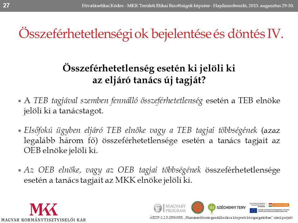 """ÁROP-2.2.5-2008-0001 """"Humánerőforrás-gazdálkodás a központi közigazgatásban"""" című projekt Hivatásetikai Kódex - MKK Területi Etikai Bizottságok képzés"""