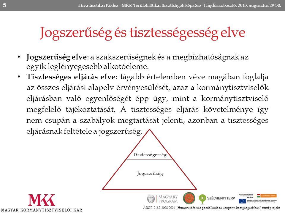 """Jogszerűség és tisztességesség elve ÁROP-2.2.5-2008-0001 """"Humánerőforrás-gazdálkodás a központi közigazgatásban"""" című projekt Hivatásetikai Kódex - MK"""