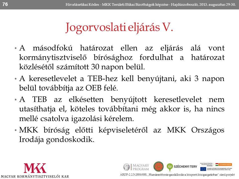 """Jogorvoslati eljárás V. ÁROP-2.2.5-2008-0001 """"Humánerőforrás-gazdálkodás a központi közigazgatásban"""" című projekt Hivatásetikai Kódex - MKK Területi E"""