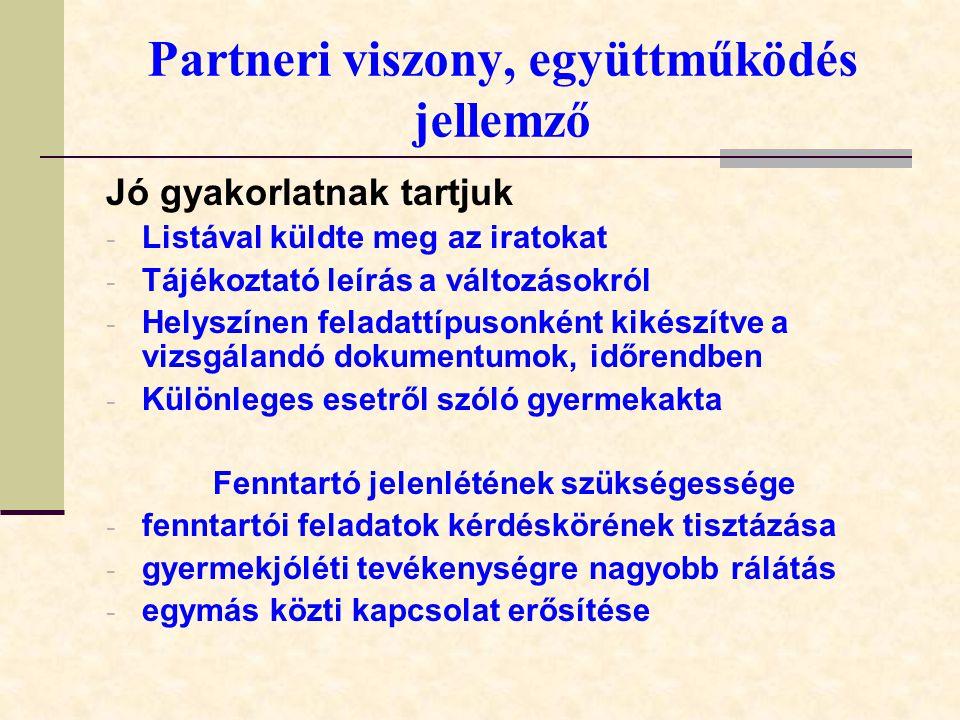 Partneri viszony, együttműködés jellemző Jó gyakorlatnak tartjuk - Listával küldte meg az iratokat - Tájékoztató leírás a változásokról - Helyszínen feladattípusonként kikészítve a vizsgálandó dokumentumok, időrendben - Különleges esetről szóló gyermekakta Fenntartó jelenlétének szükségessége - fenntartói feladatok kérdéskörének tisztázása - gyermekjóléti tevékenységre nagyobb rálátás - egymás közti kapcsolat erősítése