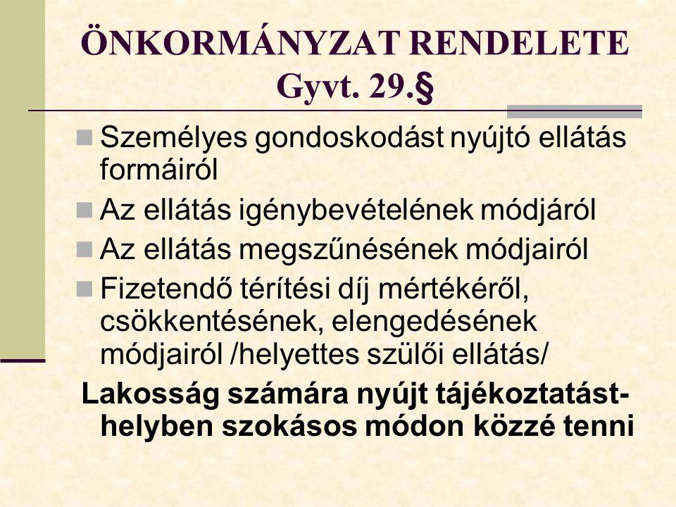 ÖNKORMÁNYZAT RENDELETE Gyvt.