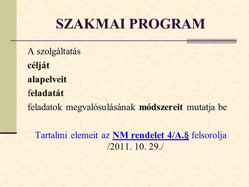SZAKMAI PROGRAM A szolgáltatás célját alapelveit feladatát feladatok megvalósulásának módszereit mutatja be Tartalmi elemeit az NM rendelet 4/A.§ felsorolja /2011.