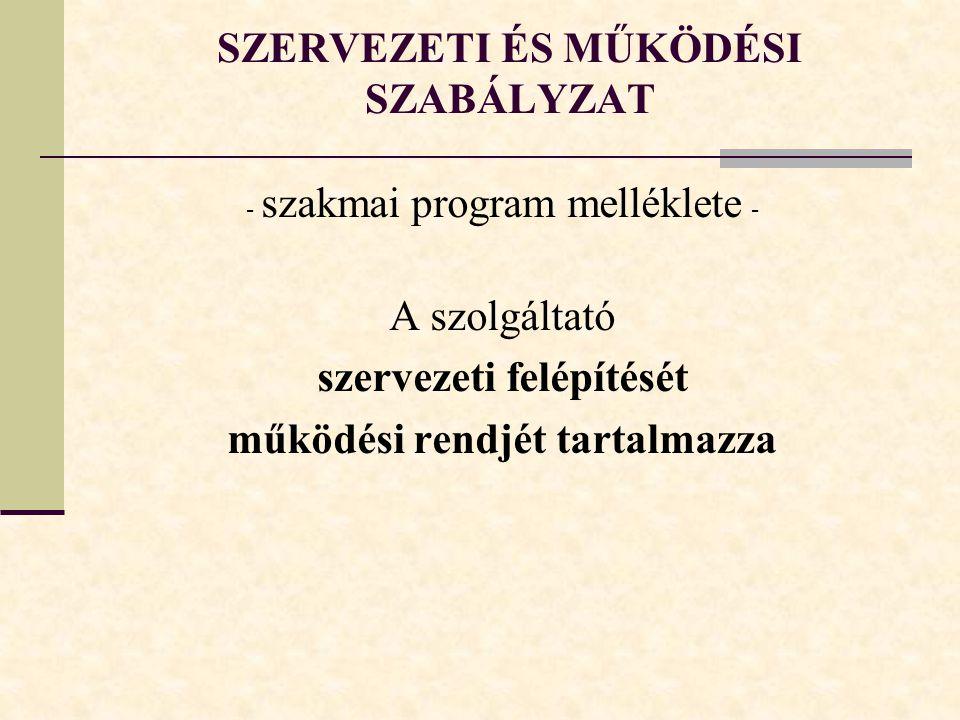 SZERVEZETI ÉS MŰKÖDÉSI SZABÁLYZAT - szakmai program melléklete - A szolgáltató szervezeti felépítését működési rendjét tartalmazza