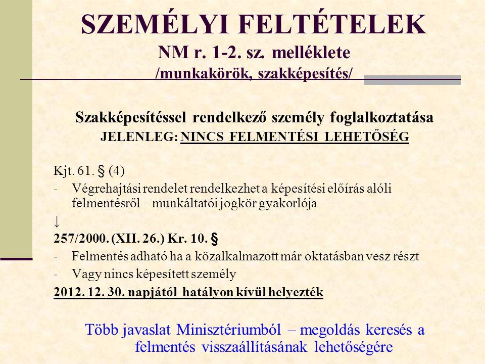 SZEMÉLYI FELTÉTELEK NM r.1-2. sz.