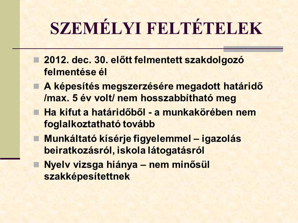 SZEMÉLYI FELTÉTELEK 2012.dec. 30.