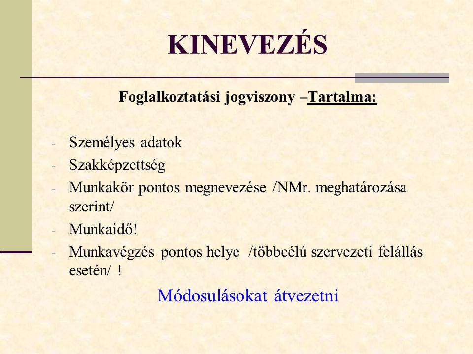 KINEVEZÉS Foglalkoztatási jogviszony –Tartalma: - Személyes adatok - Szakképzettség - Munkakör pontos megnevezése /NMr.