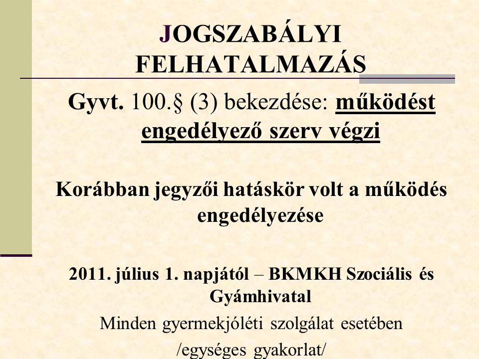 JOGSZABÁLYI FELHATALMAZÁS Gyvt.