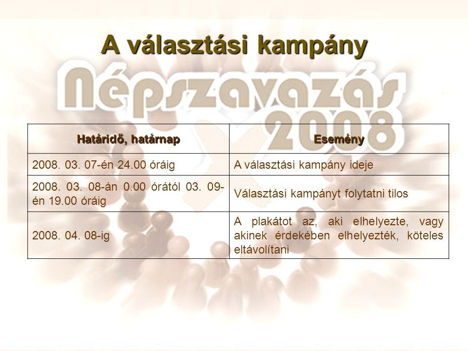 A választási kampány Határidő, határnap Esemény 2008. 03. 07-én 24.00 óráigA választási kampány ideje 2008. 03. 08-án 0.00 órától 03. 09- én 19.00 órá