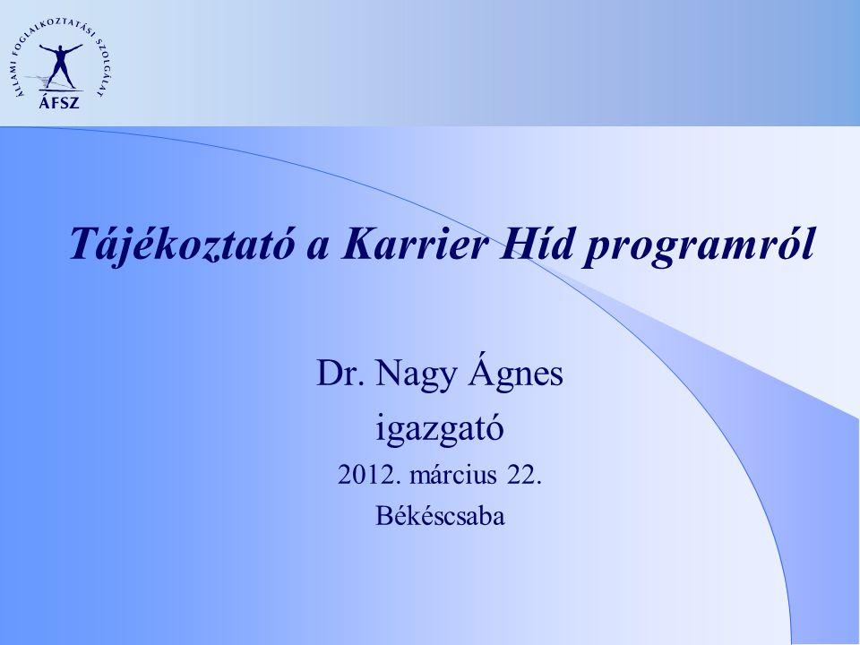 Tájékoztató a Karrier Híd programról Dr. Nagy Ágnes igazgató 2012. március 22. Békéscsaba