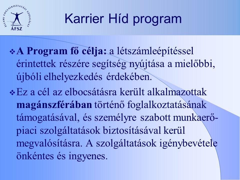  A Program fő célja: a létszámleépítéssel érintettek részére segítség nyújtása a mielőbbi, újbóli elhelyezkedés érdekében.