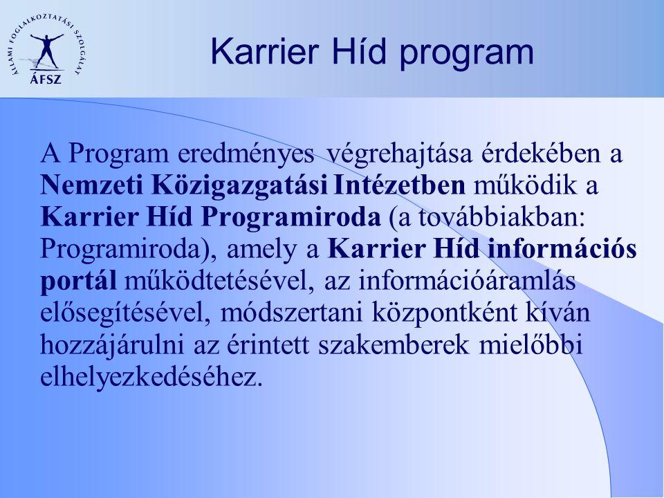 A Program eredményes végrehajtása érdekében a Nemzeti Közigazgatási Intézetben működik a Karrier Híd Programiroda (a továbbiakban: Programiroda), amely a Karrier Híd információs portál működtetésével, az információáramlás elősegítésével, módszertani központként kíván hozzájárulni az érintett szakemberek mielőbbi elhelyezkedéséhez.