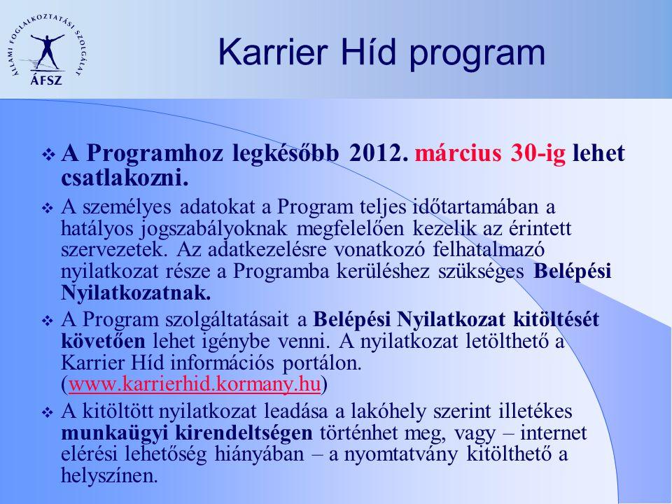  A Programhoz legkésőbb 2012. március 30-ig lehet csatlakozni.