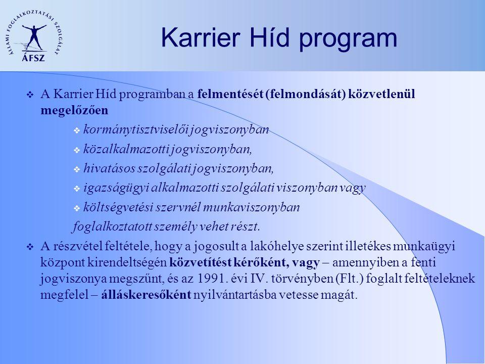 Karrier Híd program  A Karrier Híd programban a felmentését (felmondását) közvetlenül megelőzően  kormánytisztviselői jogviszonyban  közalkalmazotti jogviszonyban,  hivatásos szolgálati jogviszonyban,  igazságügyi alkalmazotti szolgálati viszonyban vagy  költségvetési szervnél munkaviszonyban foglalkoztatott személy vehet részt.