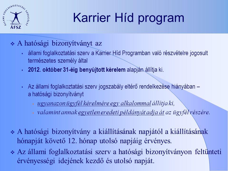 Karrier Híd program  A hatósági bizonyítványt az állami foglalkoztatási szerv a Karrier Híd Programban való részvételre jogosult természetes személy által 2012.