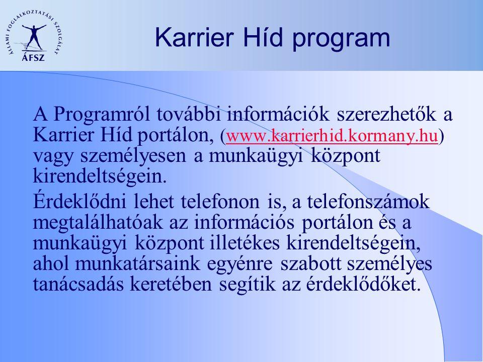 Karrier Híd program A Programról további információk szerezhetők a Karrier Híd portálon, (www.karrierhid.kormany.hu) vagy személyesen a munkaügyi központ kirendeltségein.www.karrierhid.kormany.hu Érdeklődni lehet telefonon is, a telefonszámok megtalálhatóak az információs portálon és a munkaügyi központ illetékes kirendeltségein, ahol munkatársaink egyénre szabott személyes tanácsadás keretében segítik az érdeklődőket.