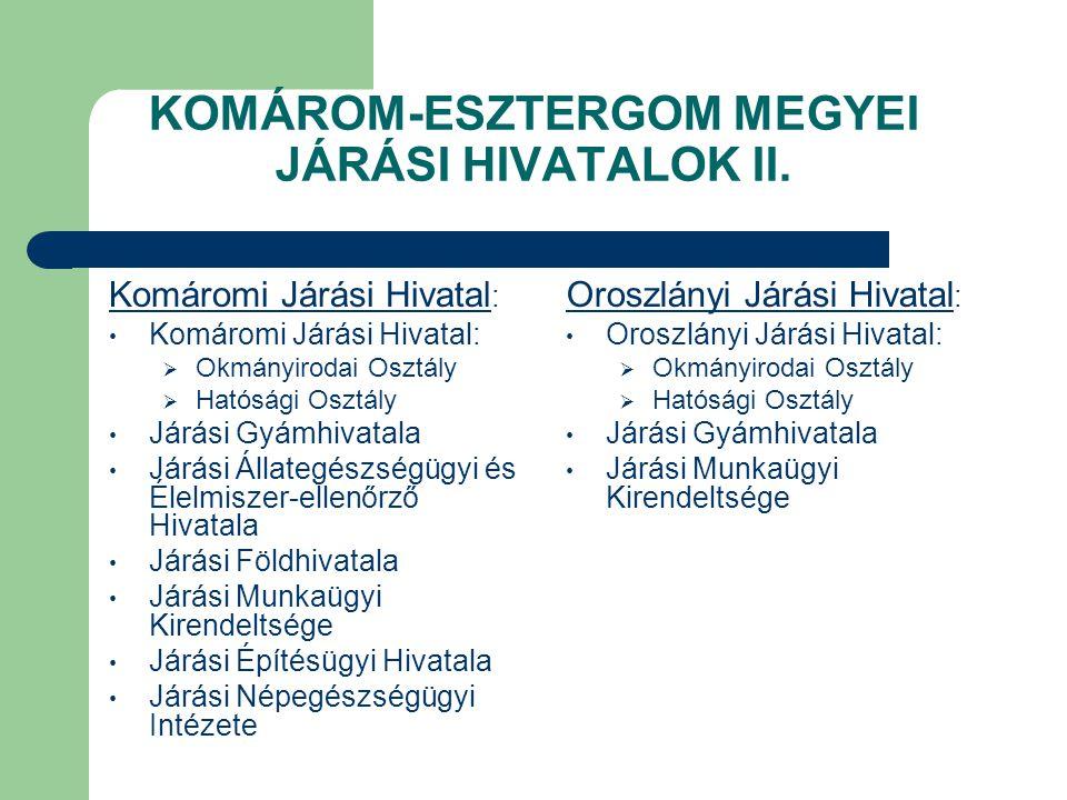 KOMÁROM-ESZTERGOM MEGYEI JÁRÁSI HIVATALOK II. Komáromi Járási Hivatal :  Okmányirodai Osztály  Hatósági Osztály Járási Gyámhivatala Járási Állategés