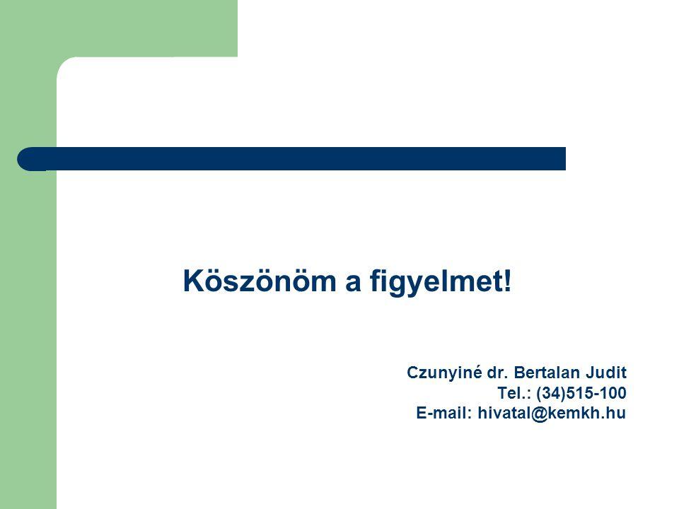 Köszönöm a figyelmet! Czunyiné dr. Bertalan Judit Tel.: (34)515-100 E-mail: hivatal@kemkh.hu