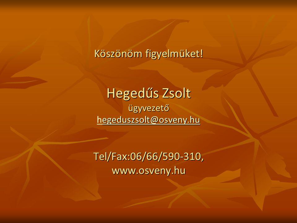 Köszönöm figyelmüket! Hegedűs Zsolt ügyvezető egeduszsolt@osveny.hu Tel/Fax:06/66/590-310, www.osveny.hu Köszönöm figyelmüket! Hegedűs Zsolt ügyvezető