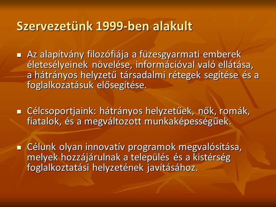 Szervezetünk 1999-ben alakult Az alapítvány filozófiája a füzesgyarmati emberek életesélyeinek növelése, információval való ellátása, a hátrányos hely