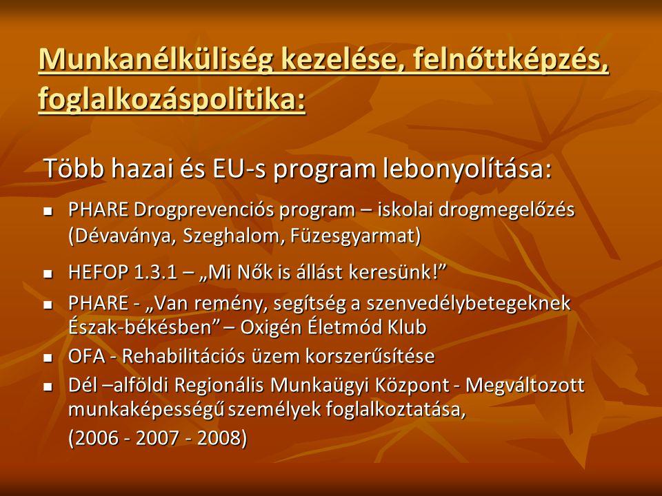 """Munkanélküliség kezelése, felnőttképzés, foglalkozáspolitika: Több hazai és EU-s program lebonyolítása: PHARE Drogprevenciós program – iskolai drogmegelőzés (Dévaványa, Szeghalom, Füzesgyarmat) PHARE Drogprevenciós program – iskolai drogmegelőzés (Dévaványa, Szeghalom, Füzesgyarmat) HEFOP 1.3.1 – """"Mi Nők is állást keresünk! HEFOP 1.3.1 – """"Mi Nők is állást keresünk! PHARE - """"Van remény, segítség a szenvedélybetegeknek Észak-békésben – Oxigén Életmód Klub PHARE - """"Van remény, segítség a szenvedélybetegeknek Észak-békésben – Oxigén Életmód Klub OFA - Rehabilitációs üzem korszerűsítése OFA - Rehabilitációs üzem korszerűsítése Dél –alföldi Regionális Munkaügyi Központ - Megváltozott munkaképességű személyek foglalkoztatása, Dél –alföldi Regionális Munkaügyi Központ - Megváltozott munkaképességű személyek foglalkoztatása, (2006 - 2007 - 2008)"""
