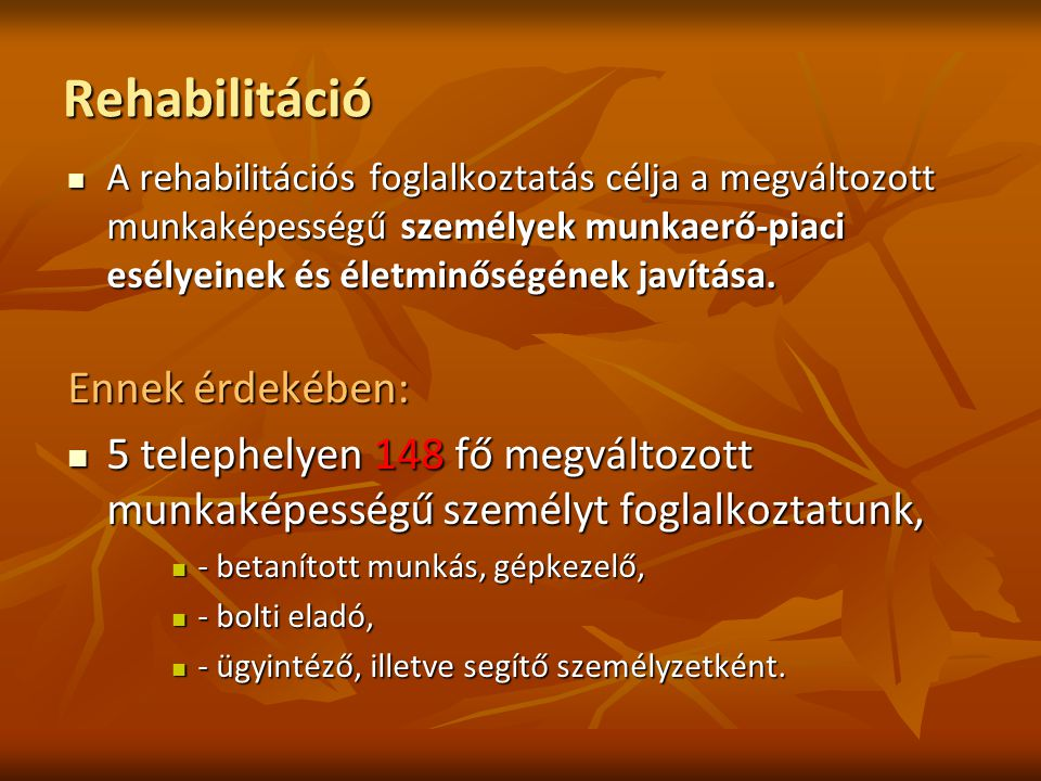 Rehabilitáció A rehabilitációs foglalkoztatás célja a megváltozott munkaképességű személyek munkaerő-piaci esélyeinek és életminőségének javítása.