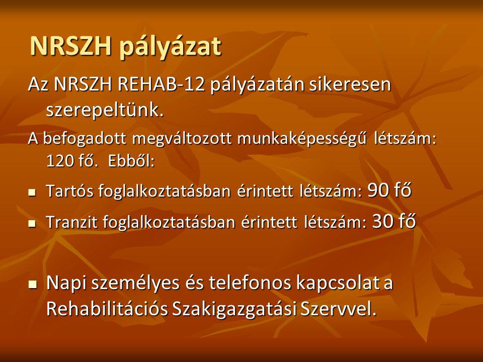 NRSZH pályázat Az NRSZH REHAB-12 pályázatán sikeresen szerepeltünk. A befogadott megváltozott munkaképességű létszám: 120 fő. Ebből: Tartós foglalkozt
